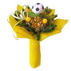 Ballagási szárazvirág csokor focilabdával - Szárazvirág díszek webáruháza