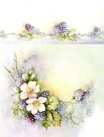 #49 Blackberries and Wild Roses China Painting Study by Sonie Ames 1971