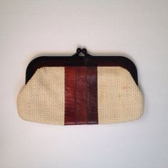 Vintage 1970s Straw and Leather Clutch Bag by IveGoneModVintage, $24.00