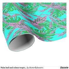 Palm leaf and coleus tropical ice wrapping paper Palm leaf and coleus topical ice wrapping paper Tropical Design, Custom Wrapping Paper, Fire And Ice, Coral Pink, Palm, Wraps, Gift Wrapping, Leaves, Prints