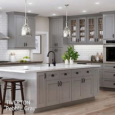Semi-Custom Kitchen and Bath Cabinets by All Wood Cabinetry Ships in days Light Gray Cabinets, Grey Kitchen Cabinets, Kitchen Cabinet Colors, Repainted Kitchen Cabinets, Bath Cabinets, Shaker Cabinets, Living Room Kitchen, Kitchen And Bath, New Kitchen