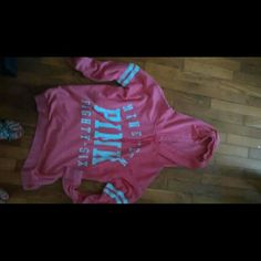 Victoria secret hoodie Bright pink Victoria secret hoodie worn only twice and washed once PINK Victoria's Secret Tops Sweatshirts & Hoodies