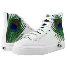 These two peacock feathers are so beautiful.  The white background makes the green and blue colors of the feather look amazing.  Fun for bird lovers.  These are awesome shoes