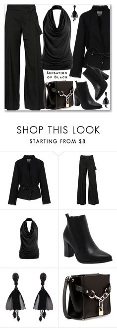 """""""Mission Monochrome: All-Black Outfit (Formal)"""" by jecakns ❤ liked on Polyvore featuring Pinko, A.F. Vandevorst, Alexander Wang, Vision, monochrome, top, allblackoutfit and offshoulder"""