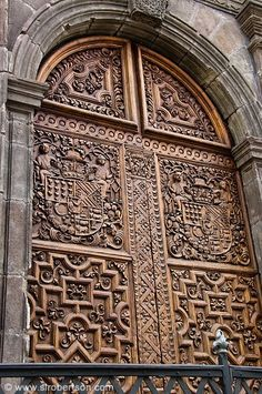 Carved wooden doors in Quito, Ecuador