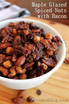 Maple glazed spiced nuts with Bacon bits – an elevated twist on a standard snack