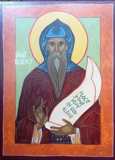 ICON - Saint Benedict Iconogapher: Lisa Winner Painted on solid wood with acrylic paints. Hope In God, Saints, Angels, Spirituality, Journal, Handmade, Stuff To Buy, Painting, Etsy