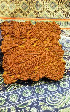 Tejido de algodón estampado a mano, India