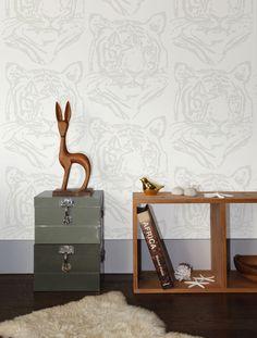 Star Tiger Wallpaper in Mist design by Aimee Wilder