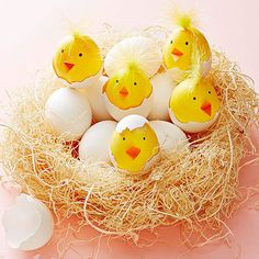 These so-cute (and so-creative) Easter egg chicks are surprisingly easy to make: http://www.bhg.com/holidays/easter/eggs/quick-and-easy-easter-egg-decorations/?socsrc=bhgpin032214chirpingeastereggs&page=2
