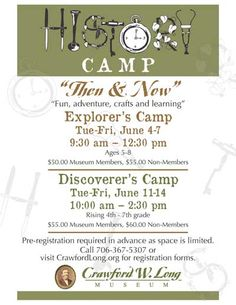 Summer History Camp is back by popular demand at Crawford Long Museum in Jefferson!