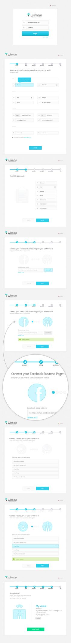 Wiman registration wizard in six easy steps by Alessio De Feudis, via Behance Design Ios, Form Design, Dashboard Design, Desktop Design, Design Thinking, Intranet Design, Creation Site, Web Forms, Ui Patterns