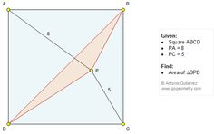 Geometry Problem 1204: Square, Triangle, Area.