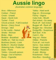 Lingo Dump, Slang for the Masses. Australian Memes, Aussie Memes, Australian Accent, Australian English, Australian Recipes, Australian Icons, Australian Sayings, Australian Dictionary, Australian Party