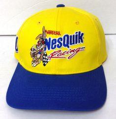 New vtg NESTLE NESQUIK RACING HAT Yellow/Blue Adjustable Nascar#10 Men/Women #Chase #PPCRacing