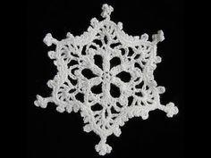 ▶ Como hacer un copo de nieve de ganchillo endurecido | How to make a crochet snowflake - YouTube
