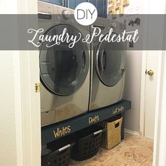 Laundry room organization tips and plans for DIY laundry pedestal. Holly on Hummingbird has the best home design and decor ideas!