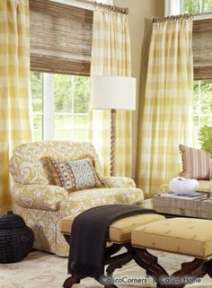 Fan Pleated Draperies and Kirsch Woven Shades from the Orange Zest Fabric Collection