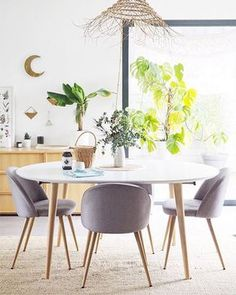 Table ronde Oqui extensible 120 x 120 cm blanc Dining Chairs, Dining Room, Dining Table, Table Extensible, House, Furniture, Organizers, Apartments, Home Decor