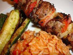 Chili und Ciabatta: Lammspieße vom Grill mit Tomatenreis