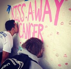 "Sorority Style: ZTA (Florida Gulf Coast University) held a ""Kiss Away Cancer"" event to raise money and spread awareness on campus. Breast Cancer Party, Breast Cancer Fundraiser, Dance Marathon, Pep Rally, Relay For Life, Sorority Life, Breast Cancer Awareness, Chd Awareness, How To Raise Money"