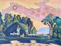Krishna-Lel, 1932 by Nicholas Roerich. Symbolism. mythological painting