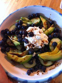 Blueberries+ avocado + cucumber + scoop cottage cheese + balsamic sprinkle = power salad