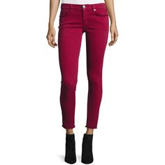 True Religion Casey Frayed Low-Rise Super-Skinny Jeans ($66) ❤ liked on Polyvore featuring jeans, merlot, purple skinny jeans, skinny leg jeans, cropped jeans, zipper jeans and button-fly jeans