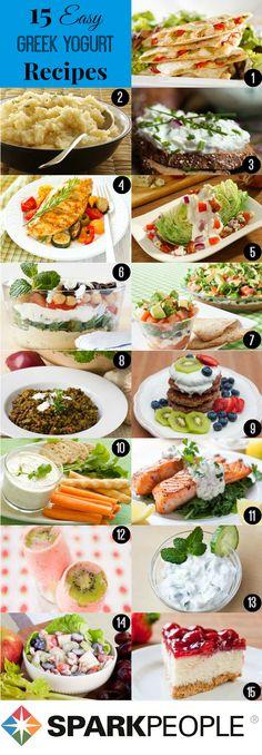 15 things to do with Greek #yogurt. Really creative ideas here!   via @SparkPeople #health #nutrition #food #Greekyogurt #recipes #cooking