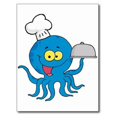 Shop cute blue octopus chef with serving platter postcard created by super_shop. Cute Cartoon Images, Octopus Drawing, Pizza Cat, Postcard Size, Paper Texture, Serving Platters, Cute Illustration, Smudging, Smurfs