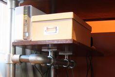 Shelf supports on my ergonomic computer desk.   #shelving #pipedesk