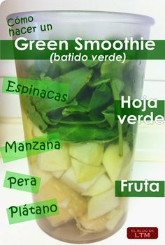 LA TÍA MARUJA: Green smoothies: receta de mi batido verde. Pear Smoothie, Healthy Green Smoothies, Smoothie Diet, Smoothie Drinks, Healthy Drinks, Smoothie Challenge, Gym Food, Smoothies Saludables, Fruit Drinks
