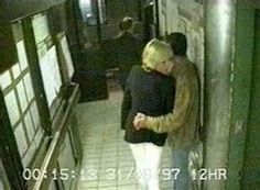Diana with Dodi near the back door of the Ritz Hotel, Paris. This is shortly before the couple left the hotel and were killed in a car crash. 8/31/1997