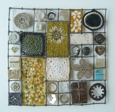 cool idea for displaying collections of small odd lilttle things   soaring-imagination:  More stunning work from textile artist Liz Cooksey.