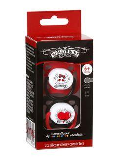 Scallyrocka red skull  shining heart dummy set. Available right here -} http://bumpandbunny.com/collections/skallyrocka