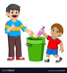 Father and his son collecting rubbish plastic Vector Image