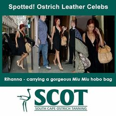 Spotted! Ostrich Leather Celebs. Rihanna is a trendsetter with her Miu-Miu ostrich hobo bag. We love the look... #fashion #ostrichleather #ostrich