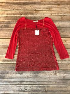 446faf32562 NWT Calvin Klein Small Red 3 4 Sleeve Top Blouse Shirt Stretch Rayon w