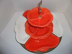 california pottery 7 piece 2 tier tidbit server lazy susan white u0026 orange l64