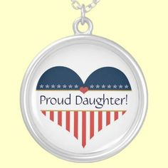USA Patriotic Proud Daughter Silver Heart Necklace by XG Designs NYC