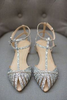shiny silver flats with straps on top are chic and bold#shoes #wedidngshoes #weddings #wedidngideas #weddingshoes