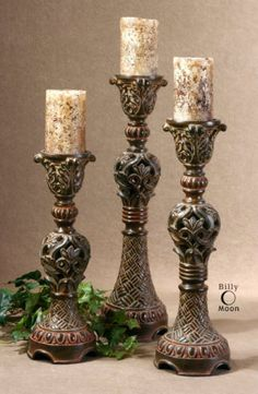 """22"""" SET OF THREE CARVED BROWN CANDLE HOLDERS RUSTIC TUSCAN SOUTHWESTERN CABIN"""