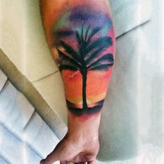 Mens Palm Tree And Sunset Silhouette Tattoo On Forearm
