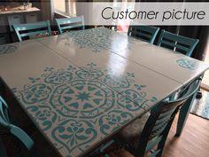 Stenciling a wooden table can add beautiful detail and interest. | Deloufleur Decor & Designs | (618) 985-3355 | www.deloufleur.com