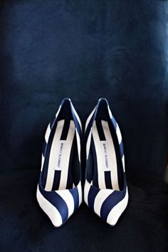 Perfect at the yacht club, the ballroom, or just about any venue, these Manolo Blahnik navy and white stripes are an instant classic.