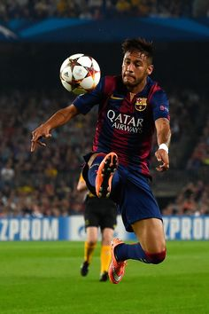 Neymar of FC Barcelona controls the ball during a UEFA Champions League Group F match between FC Barcelona and AFC Ajax at the Camp Nou Stadium on October 21, 2014 in Barcelona, Catalonia.