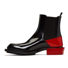 """"""""""" Alexander McQueen – Black & Red Half Chelsea Boots """""""" Alexander McQueen – Botines Chelsea en negro y rojo """""""" Mens Shoes Boots, Mens Boots Fashion, Men's Shoes, Shoe Boots, Dress Shoes, Man Boots, Fashion Black, Baby Shoes, Leather Men"""