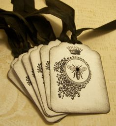 French Bee and Crown Gift Tags - Black and White -