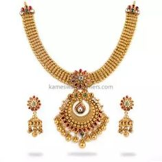 Buy Necklaces Online   Kanti Carved With CZ Pachi Pendant from Kameswari Jewellers Pearl Necklace Designs, Antique Necklace, Mango Necklace, Necklace Set, Necklace Online, Antara