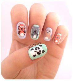 Super Adorable Baby Animals Motif On Pastel Colors Nail Background Idea - Animal Nail Art #prom nail art